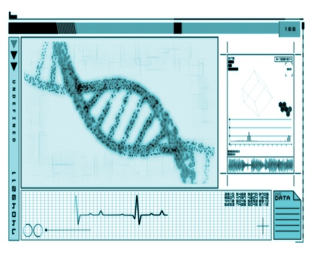 DNA Helix turquoise technology in inverted colour Stock Photo - 15561093