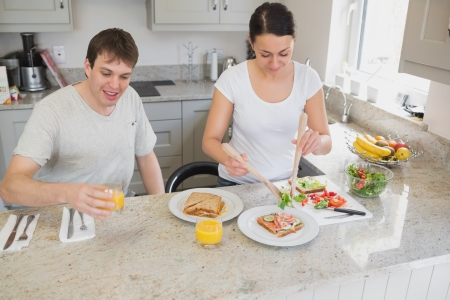 Wife making sandwiches for lunch in kitchen with husband photo