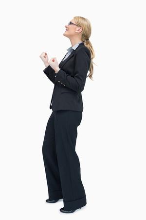 Businesswoman wearing glasses celebrating  photo