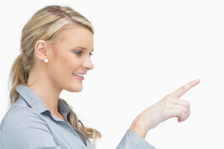 right hand: Businesswoman pointing to the right and smiling