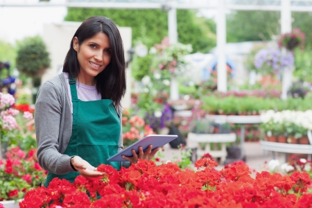 Employee choosing flowers in garden center with tablet pc  photo