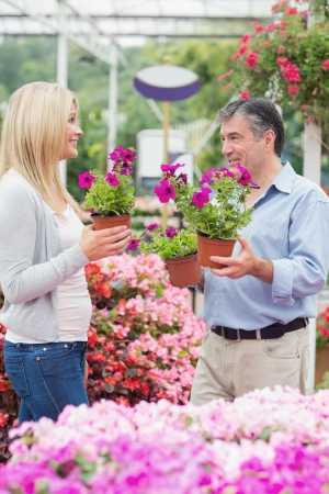 Couple discussing flowers in garden center Stock Photo - 16076959