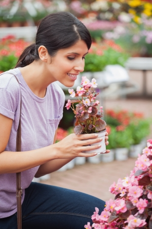 Woman raising a flower while smelling on a flower photo