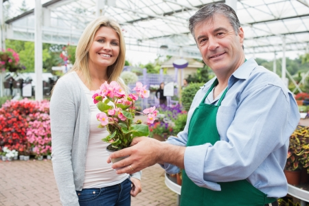 Garden center worker holding plant standing with blonde smiling woman Stock Photo - 16075213