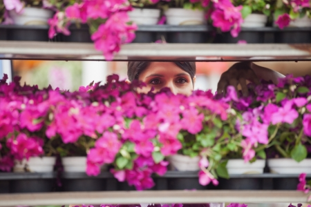 Woman taking a flower from the shelves photo