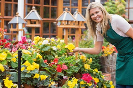 Garden center worker smiling and holding up yellow flower Imagens