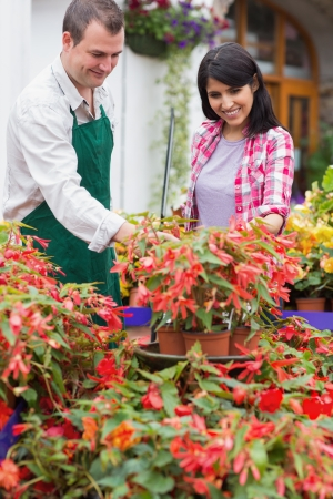 Garden center employee and customer talking about plants Stock Photo - 16078389