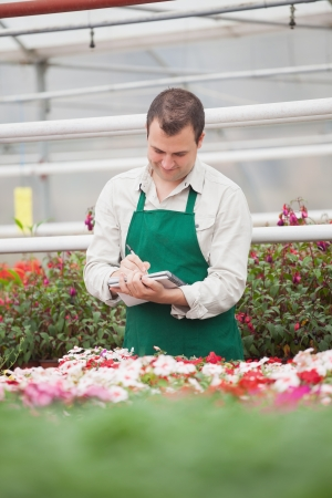 taking inventory: Man taking notes in greenhouse in garden center Stock Photo