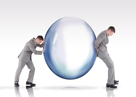 intent: Businessmen pushing a bubble with intent