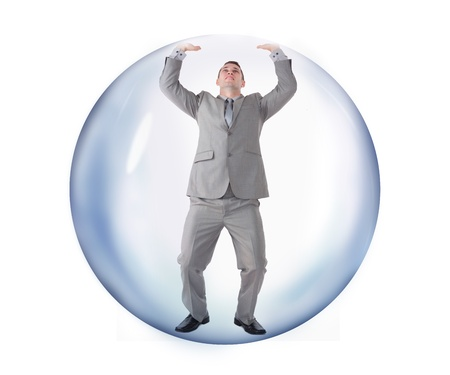 escaping: Businessman trying to escape from the bubble