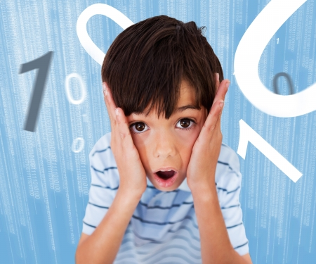 ing: Boy standing while looking scared with numbers surround ing him