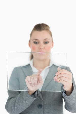 slide glass: Businesswoman touching on the glass slide
