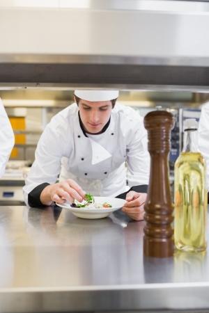 garnishing: Chef finishing his salad in the kitchen Stock Photo