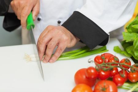 まな板: シェフのまな板に春玉ねぎを切る