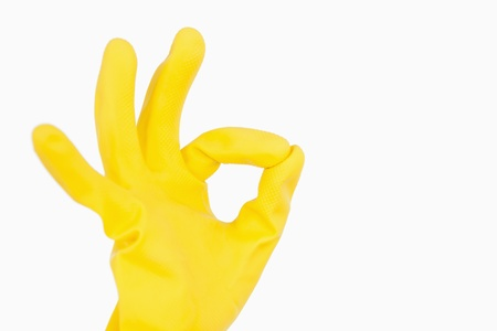 out of context: Hand in rubber glove showing ok symbol