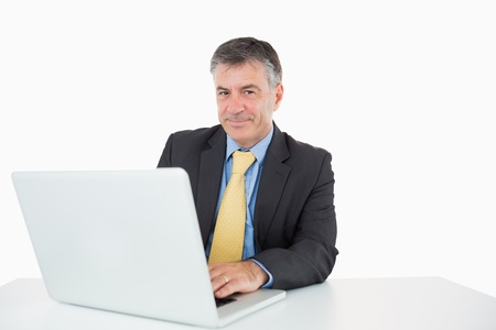 Smiling man writing on his laptop at his desk photo