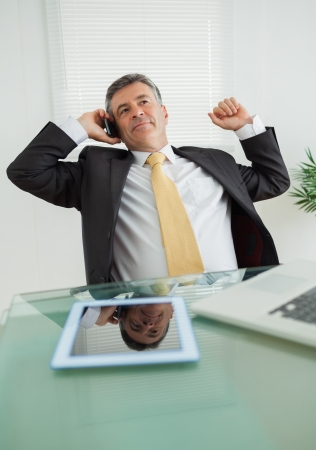 Well-dressed business man phoning in his office  photo