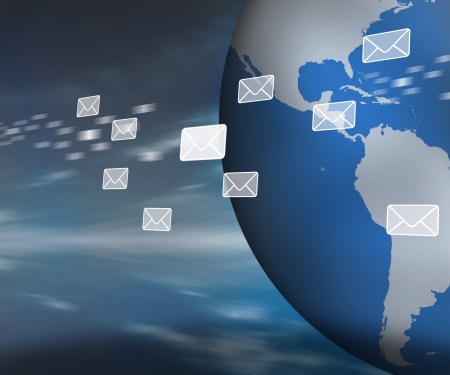 Messages floating past globe on dark blue background Stock Photo - 16067589