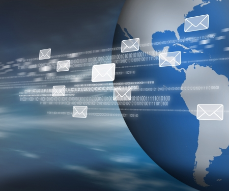 web mail: Messages and binary code moving across digital world