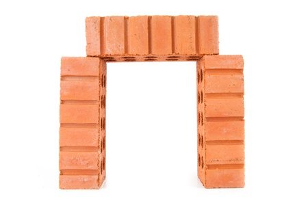Three stacked red clay bricks Stock Photo - 16067624