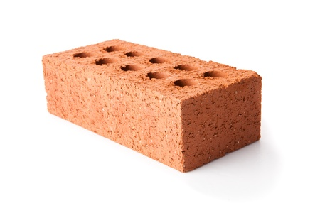 out of context: Red clay brick on white background