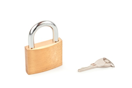 Padlock with key against white background  Stock Photo - 16068884
