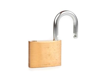 Unlocked padlock against white background Stock Photo - 16068760