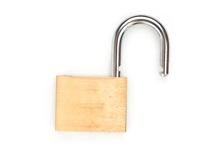 unlocked: Lock standing unlocked against white background