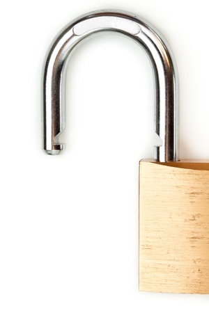 Unlocked padlock against white background close up Stock Photo - 16069431