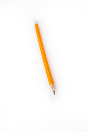 out of context: Yellow pencil with eraser on the end
