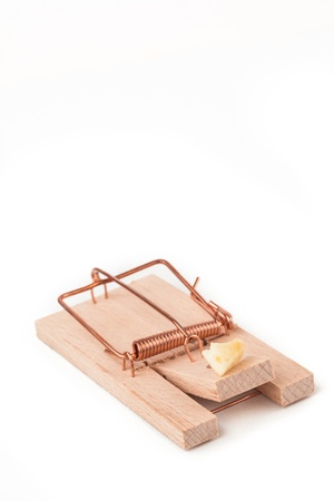Mousetrap with cheese on white background photo