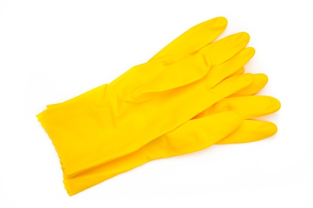 out of context: Yellow rubber cleaning gloves Stock Photo