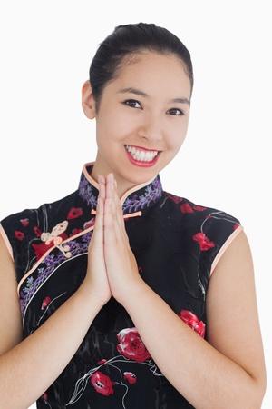 ensemble mains: Bonne femme en kimono avec les mains Banque d'images