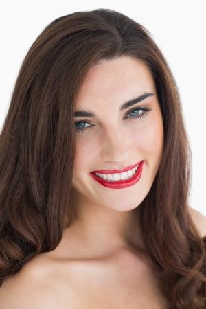 rote lippen: L�chelnde Frau mit roten Lippen Lizenzfreie Bilder