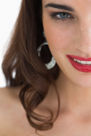 Close-up of smiling woman with red lips photo