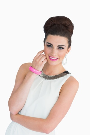 Smiling woman with beehive and pink lips photo