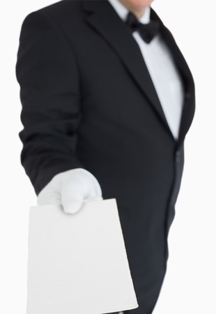 Waiter passing out a blank card Stock Photo - 16075614