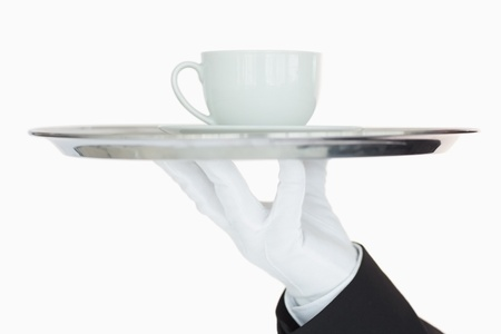 Silver tray with cup of coffee held by waiter Stock Photo - 16069006