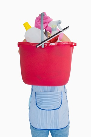Maid showing a pink bucket in the white background photo