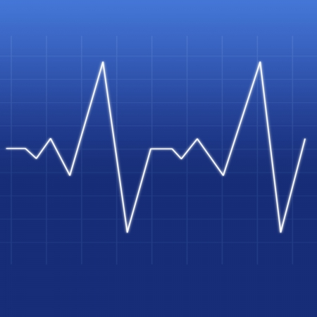 Heartbeat being designed by a white line against a blue background photo