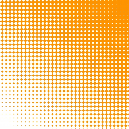 changing form: White dots changing form against an orange background