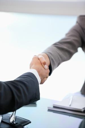 estrechando mano: Dos personas d�ndose la mano en una oficina