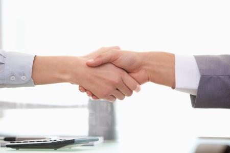 dandose la mano: El hombre y la mujer d�ndose la mano en una oficina Foto de archivo