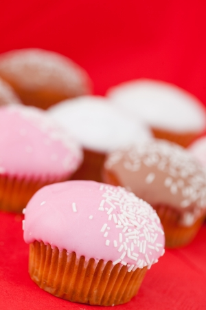 Many muffins with icing sugar on a red tablecloth Stock Photo - 16207667