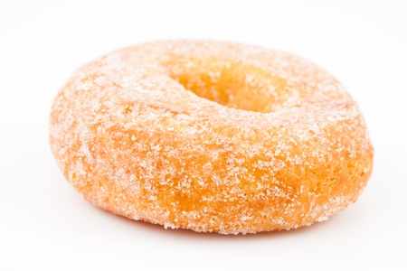 Close up of a doughnut against a white background photo