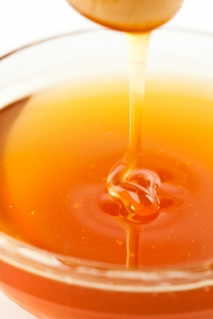 Close up of a thin honey trickle against a white background Stock Photo - 16207191
