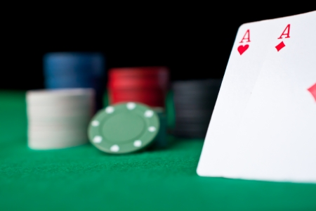 Party of poker against a black background Stock Photo - 16199238