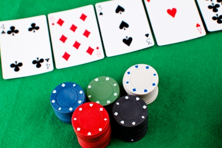 Poker party on a green mat Stock Photo - 16202470