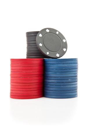 tokens: Poker tokens against a white background