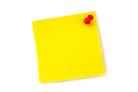 Yellow pinned adhesive note against a white background photo